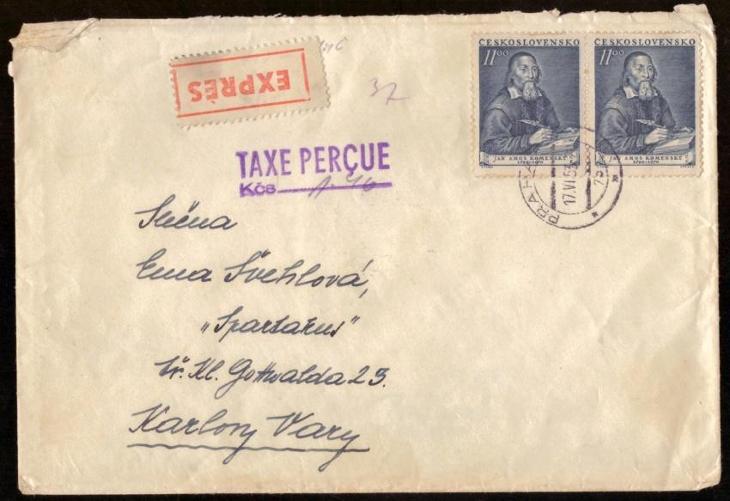 MĚNOVÁ REFORMA 1953 - EXPRES DOPIS, VYPLACENO 37,50 KČS (S2161) - Filatelie