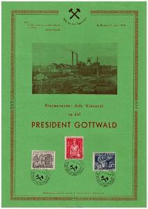 PAMĚTNÍ LIST - 700 LET ČSL. HORNICTVÍ, DŮL K. GOTTWALD, 1949 (S2169)