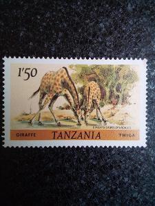Známka: Tanzánie: Giraffe (Giraffa camelopardalis).