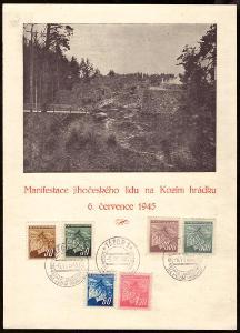 PAMĚTNÍ LIST MANIFESTACE JIHOČESKÉHO LIDU, KOZÍ HRÁDEK 1945 (S2177)