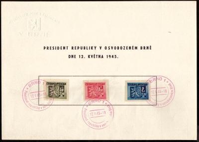 ČSR - 2x NÁLEPNÍ LIST OSVOBOZENÉ BRNO 1945 - ŘEDITELSTVÍ POŠT (S2178)