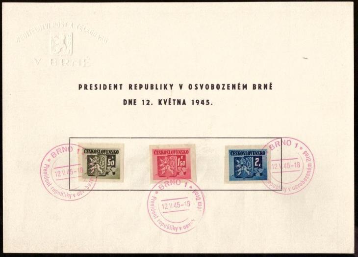 ČSR - 2x NÁLEPNÍ LIST OSVOBOZENÉ BRNO 1945 - ŘEDITELSTVÍ POŠT (S2178) - Filatelie