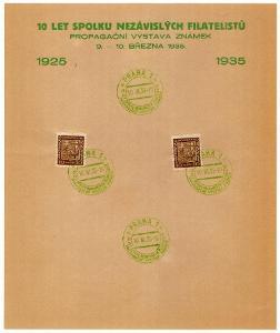 PAMĚTNÍ LIST 10 LET SPOLKU NEZÁVISLÝCH FILATELISTŮ 1935 (S2183)