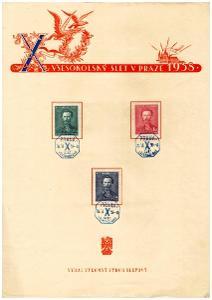 ČSR I - PAMĚTNÍ LIST VŠESOKOLSKÝ SLET V PRAZE 1938 (S2198)