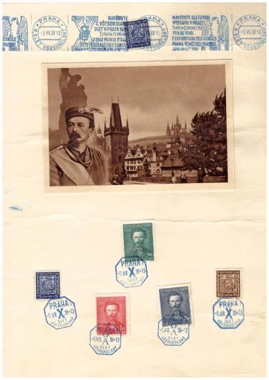 ČSR I - PAMĚTNÍ LIST VŠESOKOLSKÝ SLET V PRAZE 1938 (S2199) - Filatelie