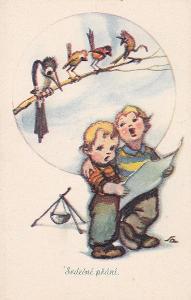 ► 2 X pohled - SALAČ - děti - pionýři - kytara - písnička - ptáčci - E
