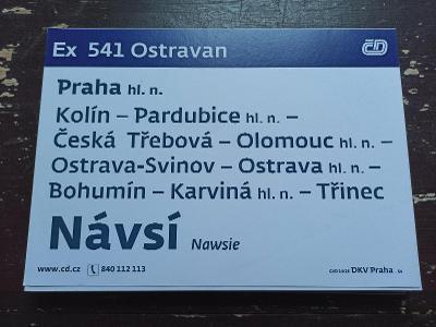 Směrová cedule - Ex 540/541 OSTRAVAN