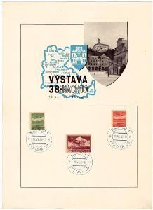 ČSR I - 5x PAMĚTNÍ LIST VÝSTAVA NÁCHOD 1938 (S2210)