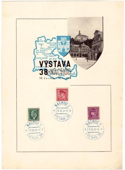 ČSR I - 5x PAMĚTNÍ LIST VÝSTAVA NÁCHOD 1938 (S2210) - Filatelie