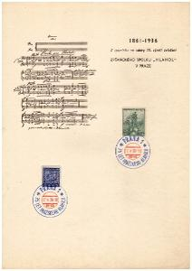 ČSR I - 2x PAMĚTNÍ LIST 75. VÝR. ZPĚVÁCKÉHO SPOLKU HLAHOL 1936 (S2211)