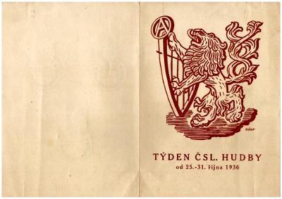ČSR I - PAMĚTNÍ LIST TÝDEN ČSL. HUDBY 1936 (S2213)