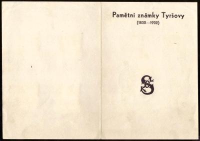 ČSR I - PAMĚTNÍ LIST - PAMĚTNÍ ZNÁMKY TYRŠOVY 1832-1932 (S2223)