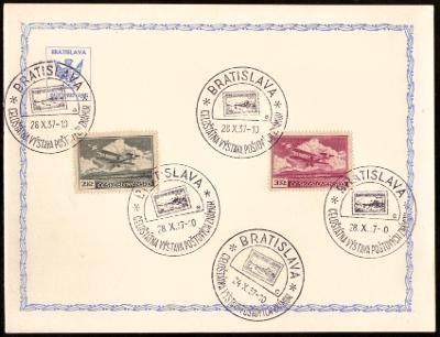 ČSR I - 3x PAMĚTNÍ LIST VÝSTAVA ZNÁMEK BRATISLAVA 1937 (S2226)
