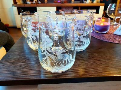 Moser sklo,,,krásné ryté pulitříky s mysliveckým vzorem 6x!!!