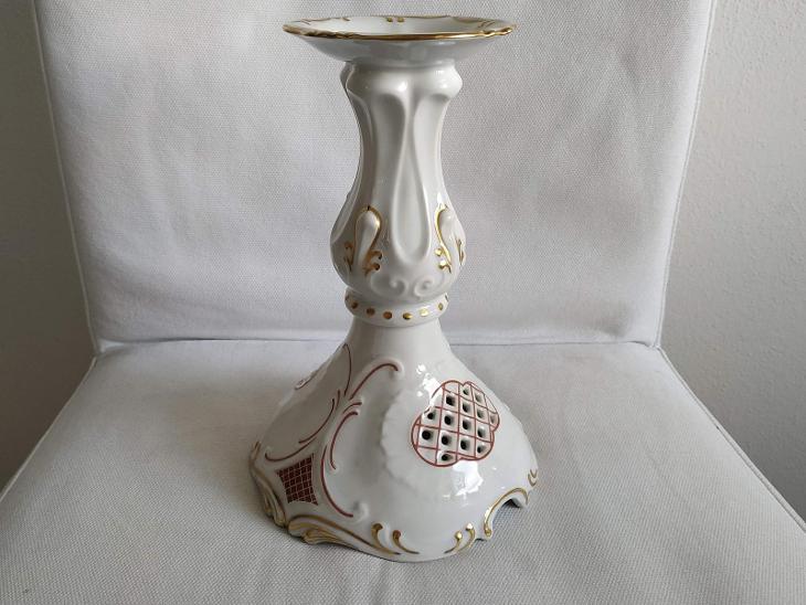 Svícen Starý porcelánový svícen Porcelán značka Březová Karlovy Vary  - Starožitnosti