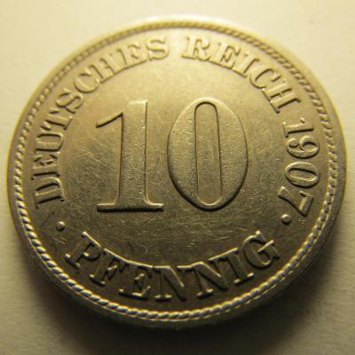 Německo, Kaiser Reich , 10 pfennig z roku 1907 J