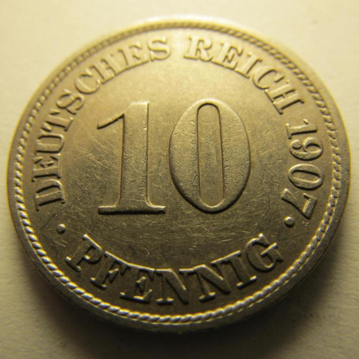 Německo, Kaiser Reich , 10 pfennig z roku 1907 J - Numismatika