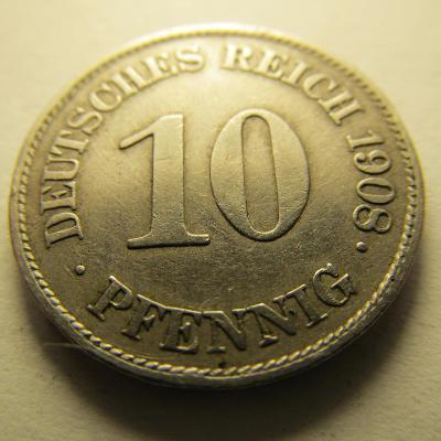 Německo, Kaiser Reich , 10 pfennig z roku 1908 E