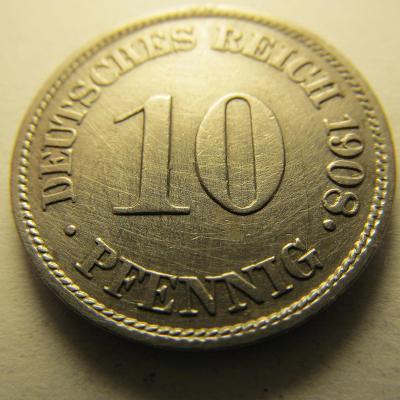 Německo, Kaiser Reich , 10 pfennig z roku 1908 J