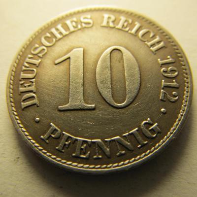 Německo, Kaiser Reich , 10 pfennig z roku 1912 E