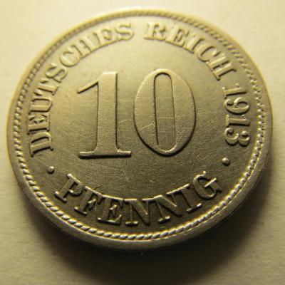 Německo, Kaiser Reich , 10 pfennig z roku 1913 J