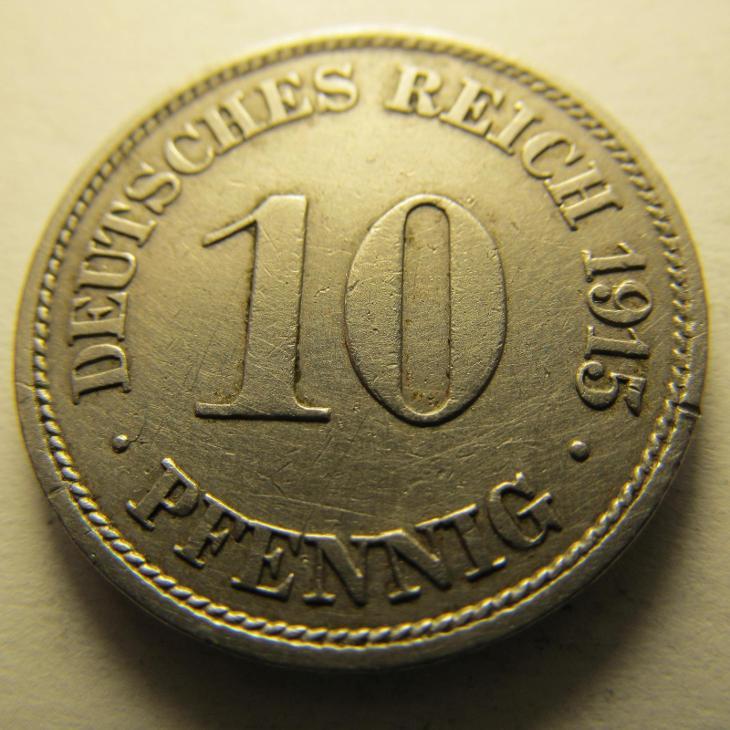 Německo, Kaiser Reich , 10 pfennig z roku 1915 J - Numismatika