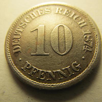 Německo, Kaiser Reich , 10 pfennig z roku 1874 A
