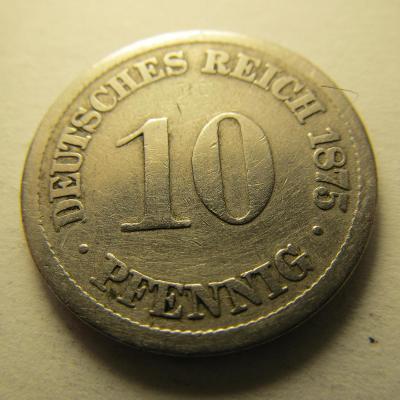 Německo, Kaiser Reich , 10 pfennig z roku 1875 J