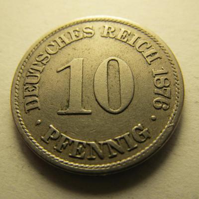 Německo, Kaiser Reich , 10 pfennig z roku 1876 A