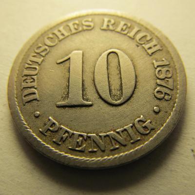 Německo, Kaiser Reich , 10 pfennig z roku 1876 B