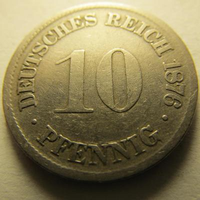 Německo, Kaiser Reich , 10 pfennig z roku 1876 F