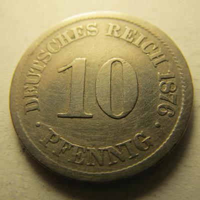 Německo, Kaiser Reich , 10 pfennig z roku 1876 J