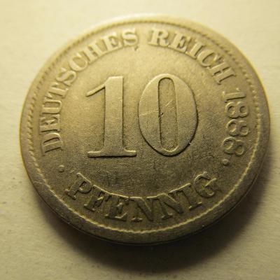 Německo, Kaiser Reich , 10 pfennig z roku 1888 J -HLEDANÁ