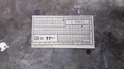Jízdenka čsd 11 kčs