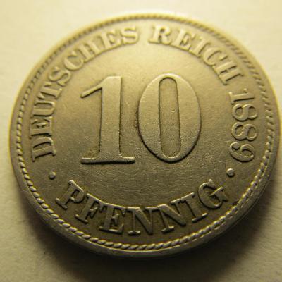 Německo, Kaiser Reich , 10 pfennig z roku 1889 A