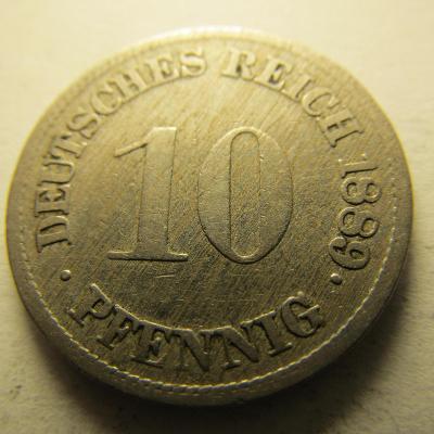 Německo, Kaiser Reich , 10 pfennig z roku 1889 F