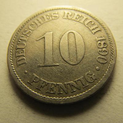 Německo, Kaiser Reich , 10 pfennig z roku 1890 A