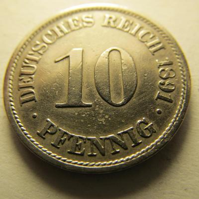 Německo, Kaiser Reich , 10 pfennig z roku 1891 A