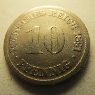 Německo, Kaiser Reich , 10 pfennig z roku 1891 D