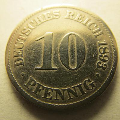 Německo, Kaiser Reich , 10 pfennig z roku 1893 A