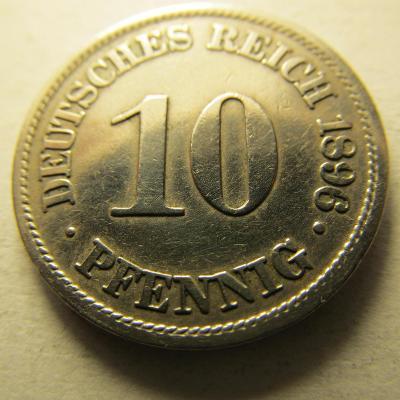 Německo, Kaiser Reich , 10 pfennig z roku 1896 A