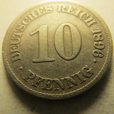 Německo, Kaiser Reich , 10 pfennig z roku 1896 E - HLEDANÁ