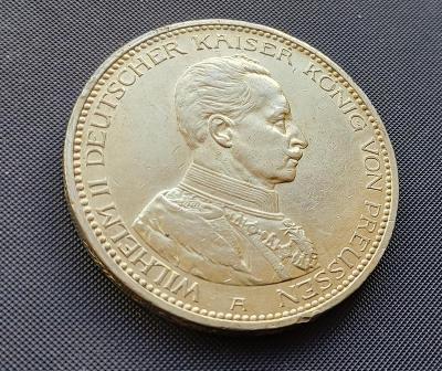 Prusko - 5 Marka 1913 A - Wilhelm II. Top stav. Ag 900/1000.