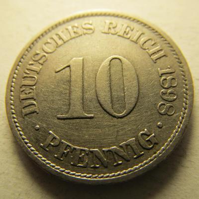 Německo, Kaiser Reich , 10 pfennig z roku 1898 A