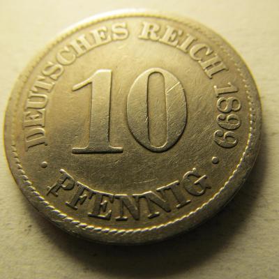 Německo, Kaiser Reich , 10 pfennig z roku 1899 A