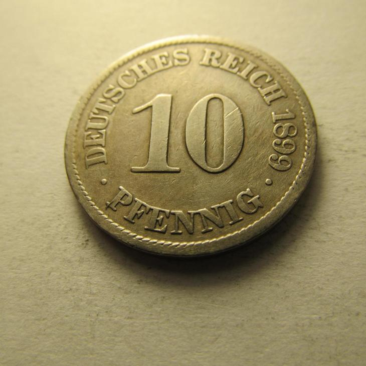 Německo, Kaiser Reich , 10 pfennig z roku 1899 A - Numismatika
