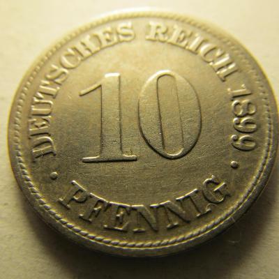 Německo, Kaiser Reich , 10 pfennig z roku 1899 D