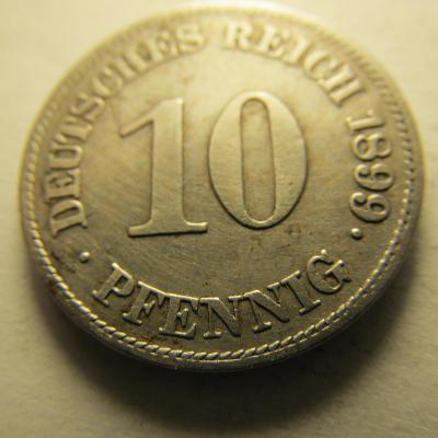 Německo, Kaiser Reich , 10 pfennig z roku 1899 E