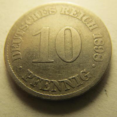 Německo, Kaiser Reich , 10 pfennig z roku 1898 J - HLEDANÁ