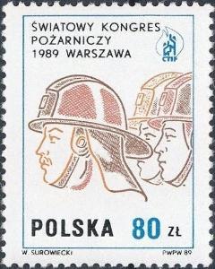 Polsko 1989 Známky Mi 3212 ** hasiči sbor hasičů